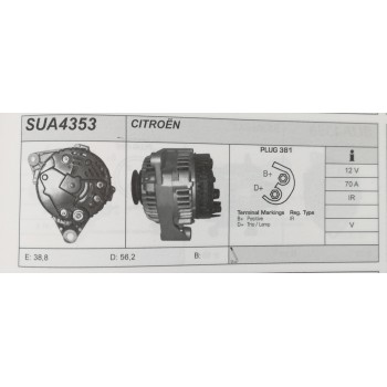 Alternatore revisionato Citroen Saxo, Xsara, ZX, Berlingo, Peugeut 106,306 (SUA 4353)